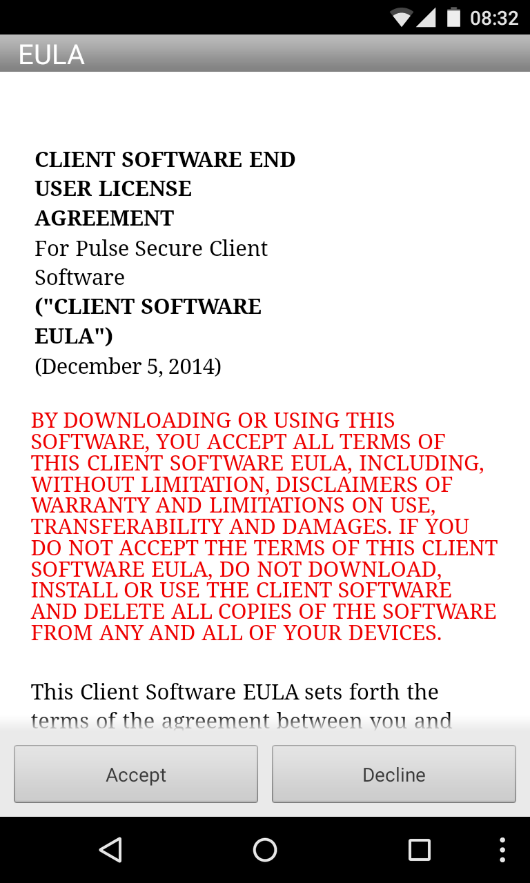 Accept the End User License Agreement