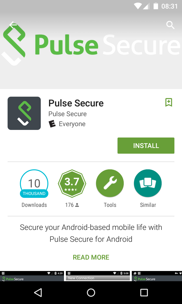 Finding Pulse Secure on Google Play