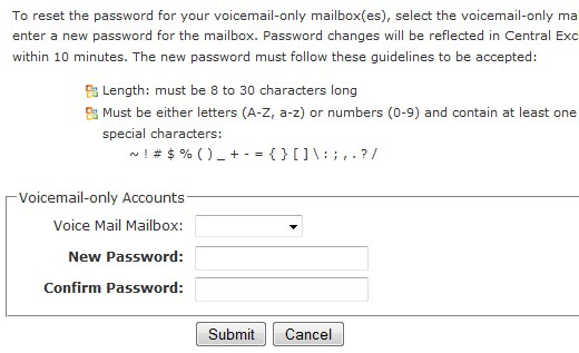 Update Voice Mail Only Password